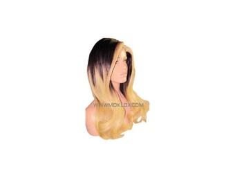 "Ready to Ship! Moklox 100% Remy Human Hair Glueless Full Lace Wig 20"" Long Black 1b Blonde 613 Wavy Ombre Balayage Streak Medium 180 Density"