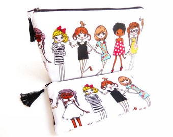 VOYAGES 6, Set of two cases, cotton pouches, quilted and lined pouches, multicolored pin-up