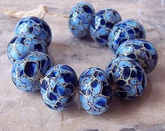 Handmade Lampwork Glass Beads  (2 pcs) - Silvered Ivory, Periwinkle, Dark Blue, 15-16 mm x 10-11  mm. Organic Lampwork Beads. Made to order.