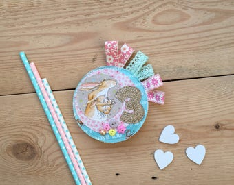 Guess How Much Birthday, Birthday Badge, Birthday Brooch, Birthday Pin, Textile Brooch, Third Birthday, 3rd Birthday, Birthday Keepsake