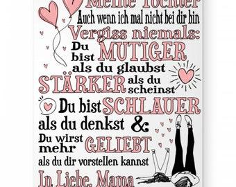 Hochwertiges DIN A3 Poster (hochformat) -  Geschenk für die Tochter