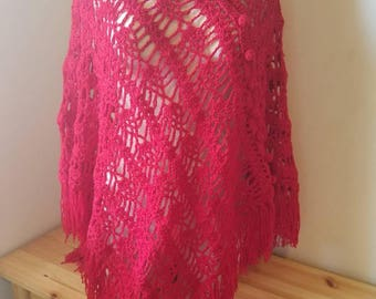 Red Crocheted Poncho