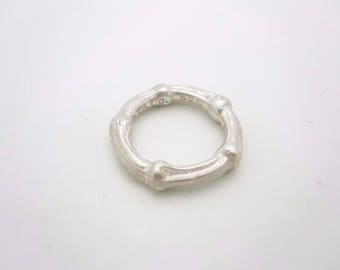 Tiffany & Co. Sterling Silver Bamboo Collection Band Ring Size 6.5