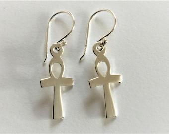 Sterling Silver Ankh Cross Earrings.