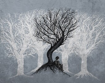 Beneath the Branches- A4 art print by Jon Turner- pen and ink artwork- FREE WORLDWIDE SHIPPING
