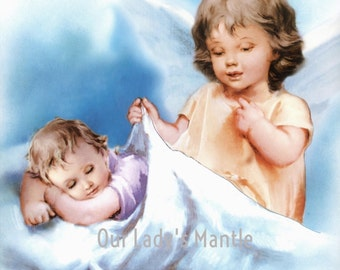 GUARDIAN ANGEL Watching Over a Sleeping Child - 8x10 Print Picture Art from Italy