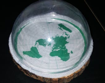 Flat Earth FE Model Paperweight Display Basswood Acrylic