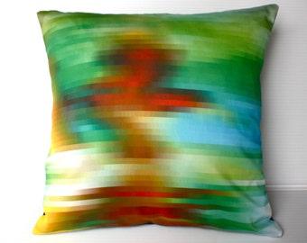 pixel fabric, throw pillow, cushion cover,decorative pillow cover, cushion cover, eco friendly organic cotton throw cushion 16x16