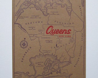 8 x 10 letterpress Queens Map Print - Perfect for framing