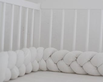 Crib Bedding, Baby bedding, Braided Crib Bumper, , Knot Pillow, Linen Pillow, Cradle Bumper, Cot bumper, Crib sheets, Nursery decor,