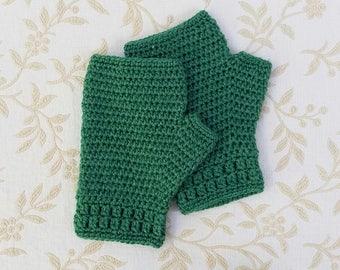 Crocheted fingerless gloves, bamboo and silk wool gloves, emerald green winter gloves, crochet hand warmers, winter accessories