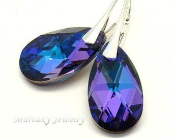 Heliotrope Blue Plum Purple Earrings Pear Swarovski Crystal Sterling Silver Bridesmaids Wedding Bridal Earrings Purple Green Choose Color