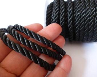 5 mm Black Braided Silk Cord_PP01244557453_ BRAIDED/ Black Cord_of 5 mm_Sales by yards