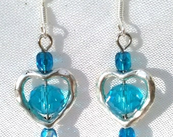 Earrings turquoise and silver, Crystal and Bohemian glass beads
