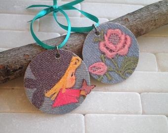 Vintage Card Ornament Set - Paper Ephemera Kawaii Little Girl Butterfly & Flowers Kitschy Ornaments Retro Christmas Holiday Decoration Gift
