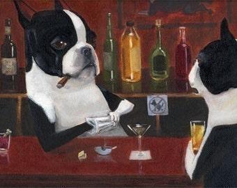 Boston Terrier Bartender dog art print, Boston terrier art gift, bar room art