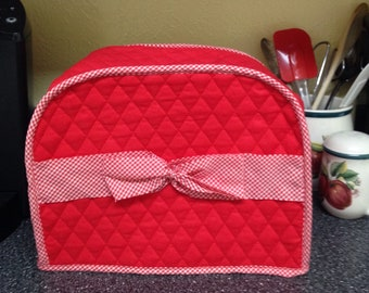 Red and White Gingham Ribbon 2 Slice Toaster Cover Home Decor Quilted Fabric Dust Cover Small Appliance Covers Ready To Ship