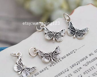 4 pcs sterling silver butterfly charm pendant , QQ1