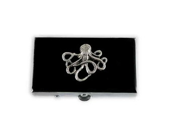 Rectangle Pill Box Neo Victorian Kraken Inlaid in Hand Painted Black Enamel Octopus Custom Colors and Personalized Options