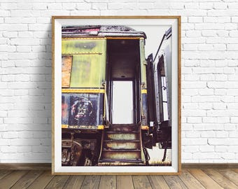 "train photography, industrial wall art, instant download printable art, digital download art, wall art, industrial decor - ""Welcome Aboard"""