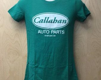 Callahan Auto T-Shirt Women's Tommy Callahan Halloween Costume Movie Callahan Auto Parts Tee Shirt 90s Sandusky OH Ohio Company Gift Idea