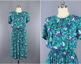 Vintage 1980s Dress / 80s Floral Print Day Dress / Secretary Dress / Garden Party Dress