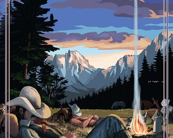 Colorado - Cowboy Camping Night Scene (Art Prints available in multiple sizes)