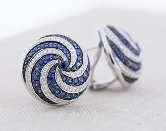 Vintage 18k Gold Sapphire and Diamond Swirl Earrings