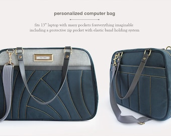 Personalized Computer Bag- Navy