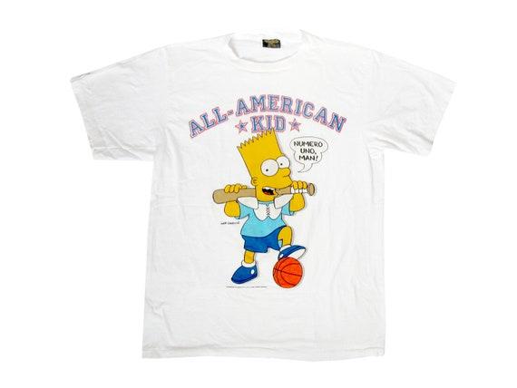 Vintage Bart Simpson All American Kid White T-Shirt Changes Large 90s The Simpsons Sportswear Baseball Football basketball Bo Jackson