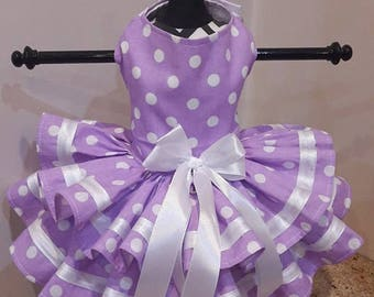 Dog DressLavender with white polkadots  and white trim