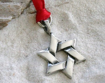 Pewter Star of David Hanukkah Jewish Holiday Decoration and Christmas Ornament (55D)