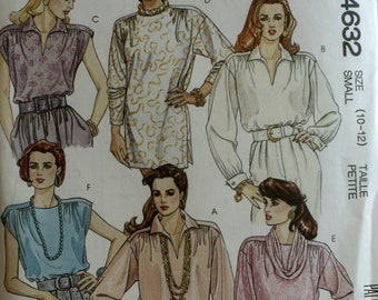 MIsses Top Sewing Pattern - Misses Blouse Sewing Pattern - Misses Tunic Sewing Pattern -  McCalls 4632 - New - Uncut - Size 10 - 12