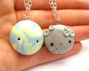Polymer clay best friends moon and earth necklaces