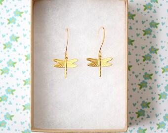 Mother's day gift, Dragonfly Earrings, Tiny dragonfly earrings, dainty earrings, small earrings, Insect earrings, gift for teacher