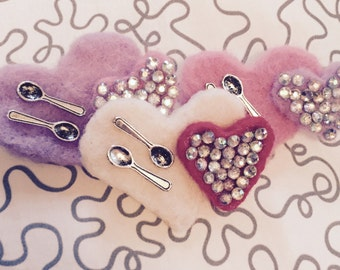 Love & Spoons Needle Felt Pin Brooch Statement Piece Chronic Illness Rhinestone Crystal Spoonie Pride EDS CVID POTS Purple Pink White