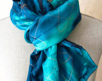 Ocean Blues with Gold Handpainted Silk Scarf, Mother's Day Gift, Gift Packaged and Ready to Ship