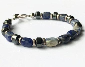 Sodalite Mens Bracelet, Mens Beaded Bracelet, Stone Bracelet, Mens Jewelry, Healing Bracelet, Gift for Men, Gifts For Him, Unisex Bracelet