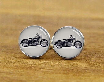 Motorcycle Cufflinks, Personalized Cufflinks, Cusotm Motorcycle Photo, Custom Wedding Cufflinks, Round, Square Cufflinks, Tie Clips, or Set