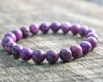 Purple Crazy Lace Agate Bracelet Gemstone Bracelet Bead Bracelet Yoga Bracelet Womens Mens Bracelet Semi Precious Bracelet Jewelry Gifts