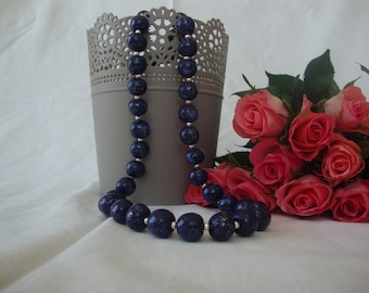 Navy Blue polymer clay necklace