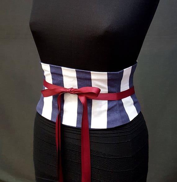Striped Corset Belt / Navy and White Stripe Waist Cincher