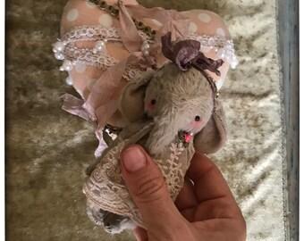 4 inch Artist Handmade Viscose Miniature Pocket Sized Shabby Chic Teddy Elephant Leela by Sasha Pokrass