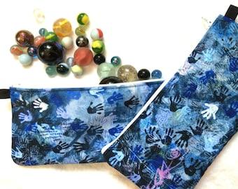 Blue zipper pencil case, boys or men's gadget bag with blue white handprints, zippered cloth makeup bag for her, Street art grunge pouch
