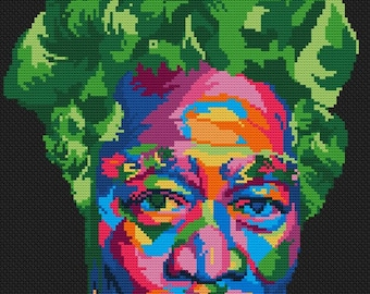 Morgan Freeman - abstract modern counted cross stitch kit