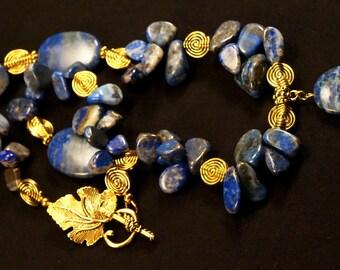 Lapis Lazuli Natural Gemstone Beaded Necklace, Lapis Gemstone Handmade Jewelry, One of a Kind Statement Necklace, Handmade Necklace