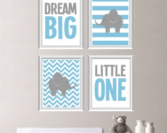 Dream Big Little One Elephant Quad - Baby. Decor. Nursery. Boy. - Shown in Light Blue, Gray - You Pick the Size (NS-161)