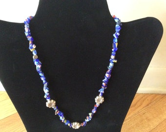 Murano Mille Fiori  style glass bead necklace sterling accents