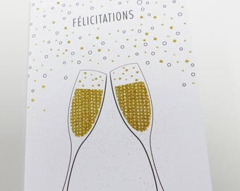 card congratulations glass of champagne bubbles glitter