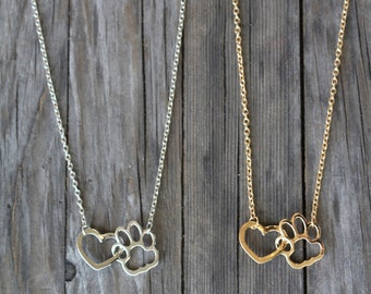 Dog Lover Paw Print Love Heart Pendant Necklace , Dog Cat Paw Jewelry , Gift for Pet Lover , Gold Silver
